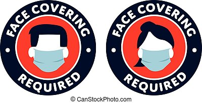 face covering required icons sign covid-19 protection male and female symbols
