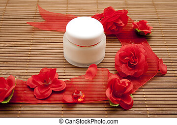 Face cream   - Face cream with rose tape