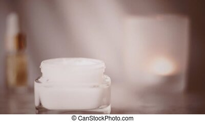 Face cream jar for healthy body care routine, skincare product at vintage spa, organic cosmetic and beauty brands