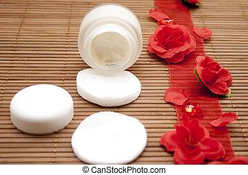 Face cream   - Face cream with rose tape