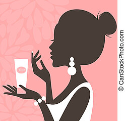 Illustration of a young beautiful woman applying cream on her face.