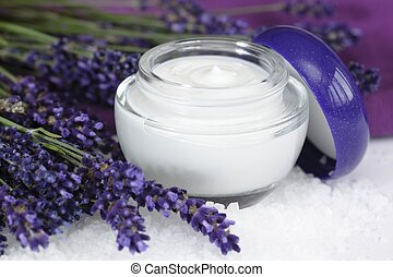 Face cream with lavender on sea salt lat. Lavandula ...
