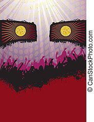 Face Disco Party Flyer Purple