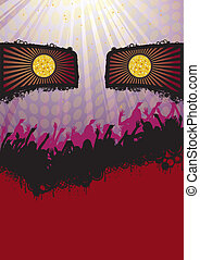 Face Disco Party Flyer Purple - Flyer party design with...
