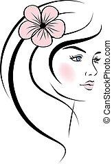 face., donna, disegno, bellezza, elements.