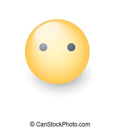 Face emoji without mouth. Cartoon vector silent emoticon. Smiley cute icon