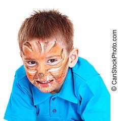 face., enfant, peinture