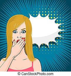 Frightened young sexy blonde girl pop art