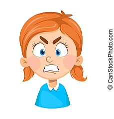 Face expression of cute little girl, angry