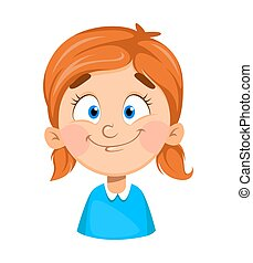 Face expression of cute little girl, cheerful