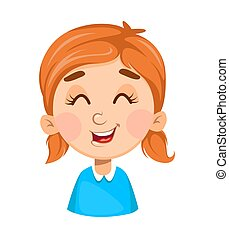 Face expression of cute little girl, laughing