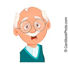 Face expression of grandfather, scared. Emotion of old man. Vector illustration on white background
