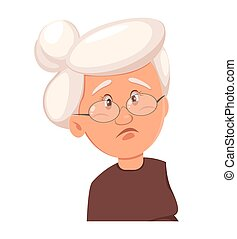 Face expression of grandmother, sad