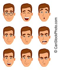 Face expressions of a brown haired man. Different male...