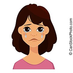vector full length portrait of sad crying woman cartoon personality