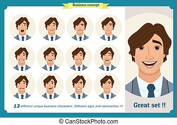 Face expressions of a man. Different male emotions set. Flat cartoon character. Young businessman in a suit and tie. Face, elements for design work. Isolated vector on white.