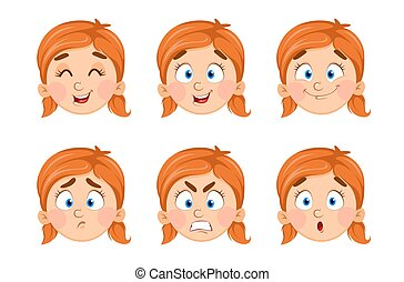 Face expressions of cute little girl