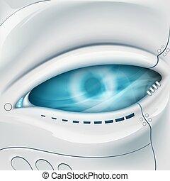 face., eye., robot, mécanique