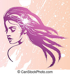 face fashion girl - face fashion girl. Vector art...