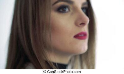 face., femme, haut, homme, lèvres, toucher, lentement, nez, ...