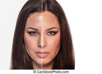 face., femme, retoucher, sans, retouched, moitié, portrait, ...