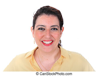 Face forward normal headshot of a Spanish woman with dark hair brown eyes wearing a yellow blouse