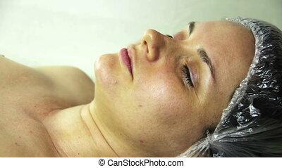 Face Girl in a Beauty Salon.