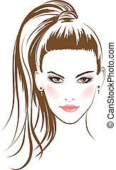 face glamour girl with long hairs. Vector