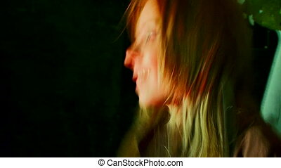 Face guitarists - Beautiful girl emotionally plays guitar....