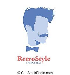face homme, avatar, moustache, vieux, fond, bowtie, ou, blanc, icône, isolé, style