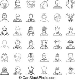 Face icons set, outline style