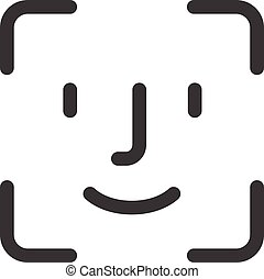 face id icon flat web sign symbol logo label