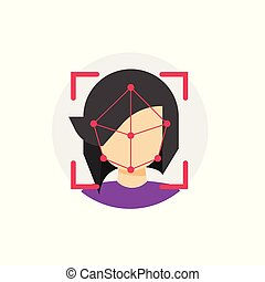 Face id recognition vector icon, flat cartoon facial scanning identification technology symbol, concept of security verification sign isolated clipart