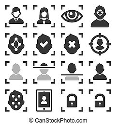 Face ID Scanning Icons Set on White Background. Vector illustration