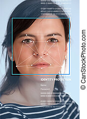 Face identification - Female face with lines from a facial...