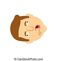 face., illustration, huvud, idiot, vektor, isolated., nerd