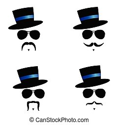 face illustration with mustache and hat blue vector