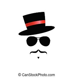 face illustration with mustache and hat vector
