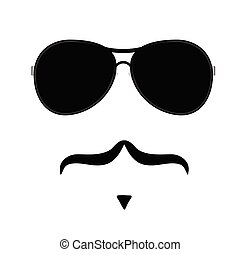 face illustration with mustache vector four