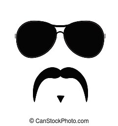 face illustration with mustache vector three