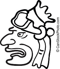 Face in style of Maya Indians, vector illustration