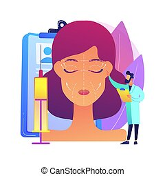 Face lifting abstract concept vector illustration. ...
