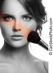 face., makijaż, charakteryzacja, concept.