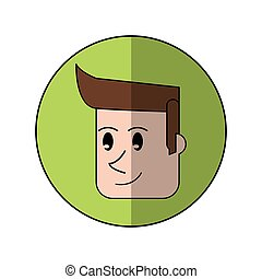 face man smiling green background shadow design