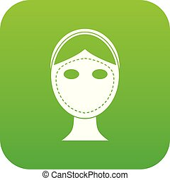 Face marked out for cosmetic surgery icon digital green for...