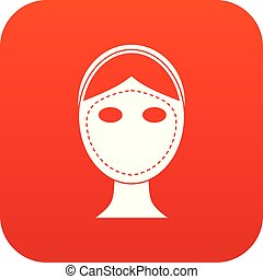 Face marked out for cosmetic surgery icon digital red