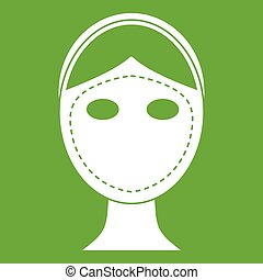 Face marked out for cosmetic surgery icon green - Face...