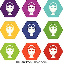 Face marked out for cosmetic surgery icon set color...
