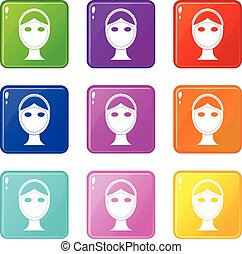Face marked out for cosmetic surgery icons 9 set - Face...