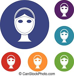 Face marked out for cosmetic surgery icons set in flat...